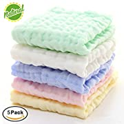 Baby Muslin Washcloths - Natural Organic Cotton Baby Wipes - Soft Newborn Baby Face Towel and Muslin Washcloth for Sensitive Skin- Baby Registry as Shower Gift, 5 Pack 10x10 inches By MUKIN