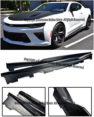 For 16-Up Chevrolet Camaro T6 Style Carbon Fiber Rocker Panel Side Skirts Extension Lower Lip Splitter 2016 2017 16 17 (Camaro Replacement Panels)