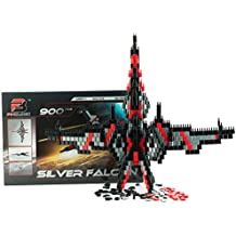Pinblock ''Silver Falcon'' - Creative Smart Building Set for Boys and Girls with 900 Interlocking and Rotating Blocks, Manual Included