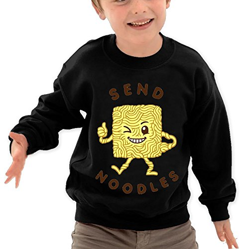 Price comparison product image Puppylol Send Noodle Kids Classic Crew-neck Pullover Hoodie Black 4 Toddler