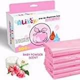 300 Count Baby Disposable Diaper Sacks Bags,100% Biodegradable Diaper Bags Easy-Tie with Baby Powder Scent,(Pink
