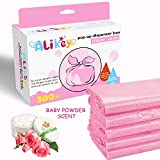 300 Count Baby Disposable Diaper Sacks Bags,100% Biodegradable Diaper Bags Easy-Tie with Baby Powder Scent,(Pink)