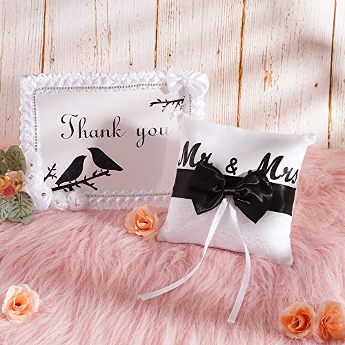 """Wedding Rings Bearer Pillow, Mr & Mrs Elegant Lace Black Bowknot Ribbon Ring Cushion + Photo Framed Party Signs, Acrylic 10.2"""" Table Display Card Holder, Satin Roses and Rhinestone Decor"""