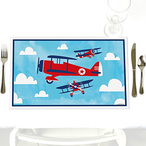 (Taking Flight - Airplane - Party Table Decorations - Vintage Plane Baby Shower or Birthday Party Placemats - Set of 12)