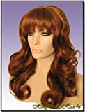 Hollywood_hair4u - Long Curly Copper Red / Auburn Mix Wig with Bangs Kanekalon Heat Resistant Synthetic Fiber Skin Top *NEW*