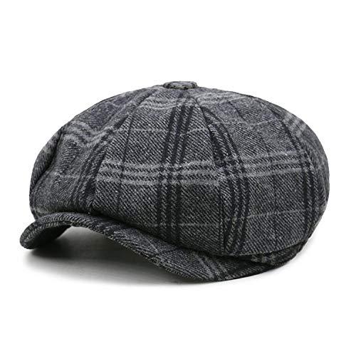 Men Newsboy Cap Unisex Beret Wool Hat Tweed Gatsby Octagonal Plaid Women Vintage Winter Spring Duckbill Hats