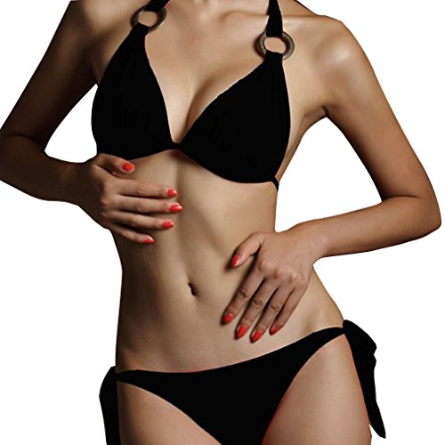 Honghu Mujer Push Up Bikini Playa Trajes De Baño Swimsuit Swimwear un tamaño Negro