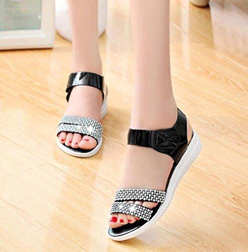 zapatos planos con planos de las sandalias antideslizantes inferiores suaves mujeres C
