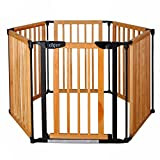 New Clevr 3-in-1 Baby 6 Panel Playard Wooden Gate Fence Playpen, Auto-Lock, Pet Playpen, Fireplace Fence Guard