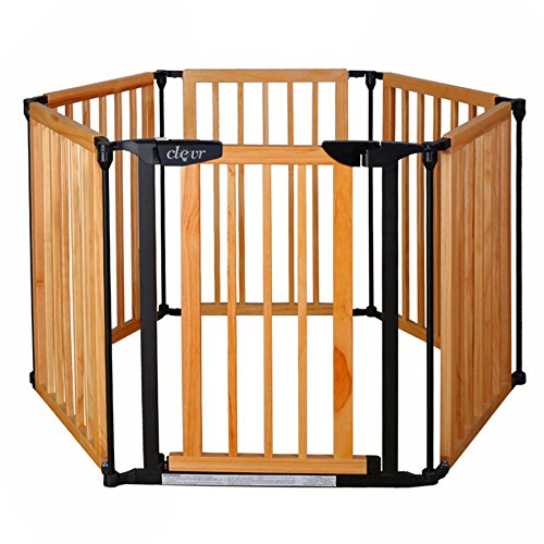 New Clevr 3-in-1 Baby 6 Panel Playard Playard Wooden Gate Fence by Clevr