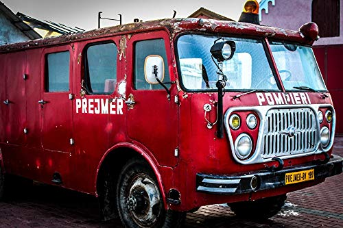 Home Comforts Peel-n-Stick Poster of Truck Brigade Vintage Fire Department Firetruck Vivid Imagery Poster 24 x 16 Adhesive Sticker Poster Print