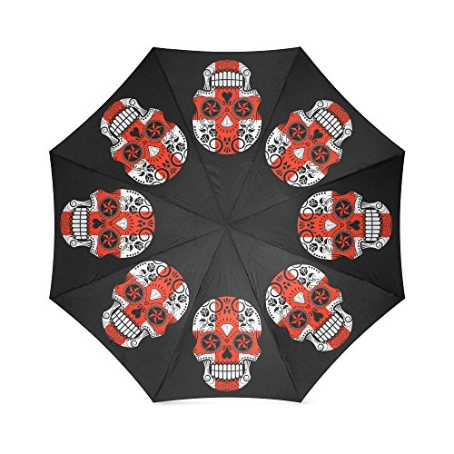 Sugar Skull with Roses and Flag of Estonia Prints Foldable Outdoor Travel Sunshade Windproof Rain Umbrella