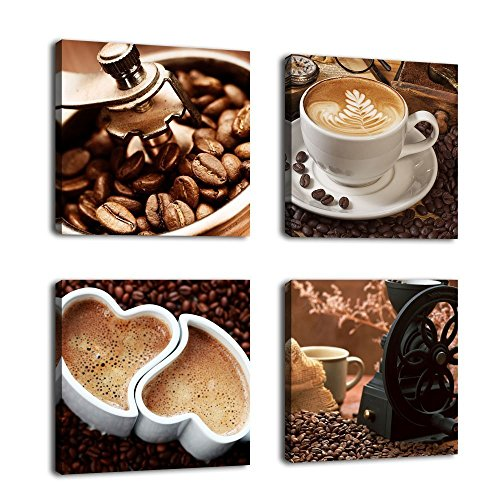 Kitchen Canvas Art Coffee Bean Coffee Cup Canvas Prints Wall Art Decor Framed Ready to Hang - 4 Panels Modern Artwork Painting Contemporary Pictures for Dining Home Decoration by yearainn