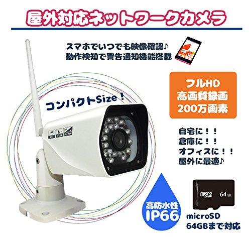 ORIGIN高画質200万画素のフルハイビジョン防犯カメラ 屋外対応ネットワークカメラ microSD64GB対応 フルハイビジョン FULLHD 高画質 200万画素 IP66高防水性能 P2P スマホ/タブレット簡単設定HL-H750GA B01DEMCGHA