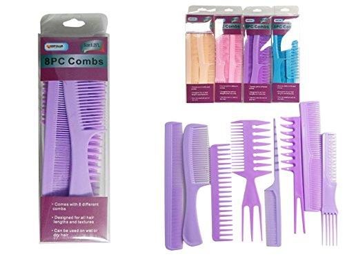 8PC Hair Comb Set Size: 8.25'' L , Case of 144
