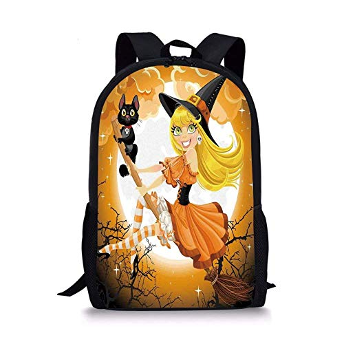 (School Bags Halloween Decorations,Cute Sexy Witch on a Broom with Baby Kitten and Hazy Moonlight Print,Multi for Boys&Girls Mens Sport)