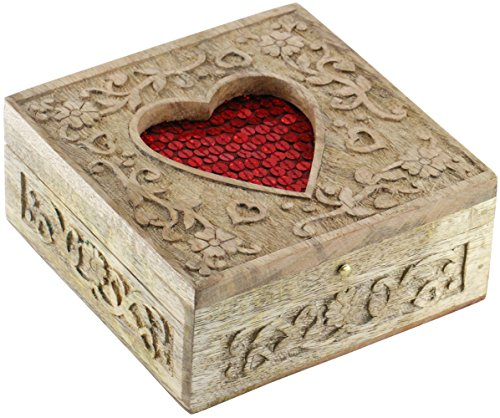SouvNear PREMIUM QUALITY Red Heart Decorative Precious Jewelry Box – Wooden Carved Retro Handmade Ornate Keepsake Storage Chest – Rings / Necklace / E…