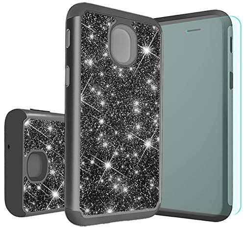 Stars Case Design Protector (Galaxy J7 2018 Case Galaxy J7 Aero/J7 Top/J7 Refine/J7 Eon/J7 Star/J7 Crown/J7 Aura Case with HD Screen Protector,Thinkart Glitter Shiny Hybrid Protective Design (Black))