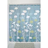 InterDesign Daizy Shower Curtain, Blue and Sage, 72 x 72-Inch