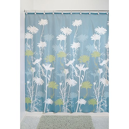 InterDesign Daizy Shower Curtain, Blue and Sage, 72 x 72-Inch ()