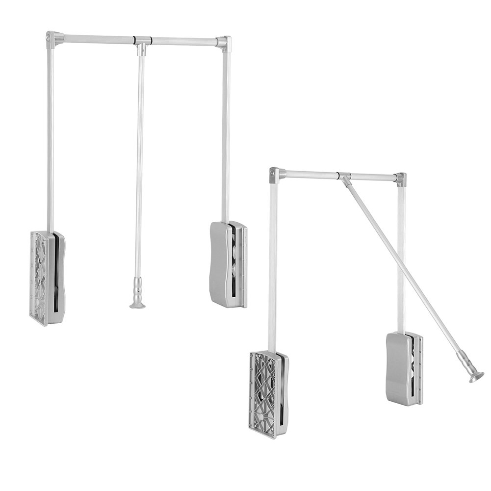 Greensen Pull Down Wardrobe Hanger, Adjustable Wardrobe Clothing Rail Closet Rod for Wardrobe Bedroom Closet Space Saving (23.62~33.86 inch)