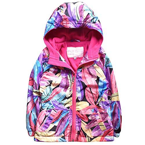 b968a2a98 Hooded Jacket Girls Winter Waterproof Kid Raincoat Softshell Fleece Wind  Outwear by Liny (Image #