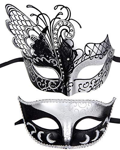 (IETANG Couple Mask Half Venetian Masquerade Ball Mask Party Costume Accessory)