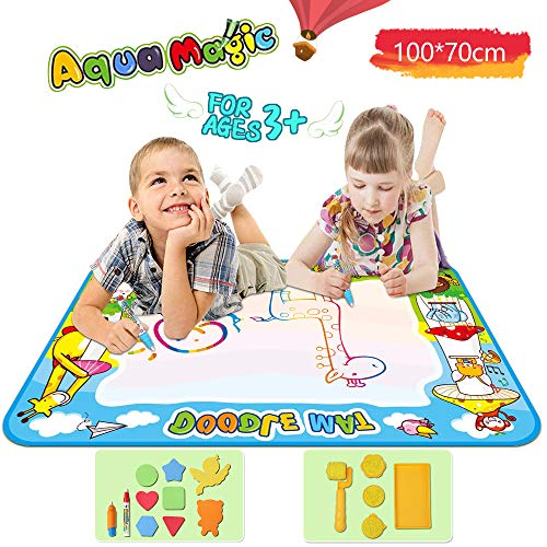 WisToyz Doodle Mat 39.4 x 28in Water Doodle Mat Kid Educational Toys Magic Painting Kit with 2 Pens,1 Roller,3 Stamps and 8 Molds,Doodle Drawing Mat for 3-6 Years Old Unisex -