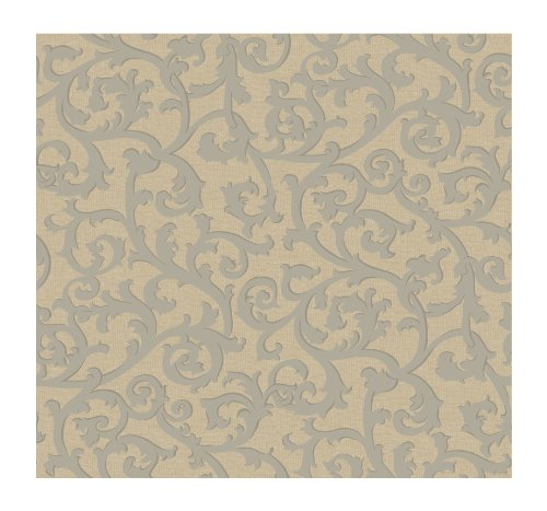 (York Wallcoverings KC1854SMP French Dressing Scroll with Texture 8-Inch x 10-Inch Wallpaper Memo Sample, Deep Taupe/Soft Sandy Taupe)