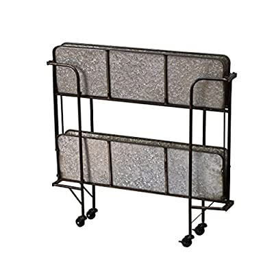 Time Concept Handcrafted Rustic Iron Garden Utility Decor Shelf - Outdoor/Indoor Wagon Rack