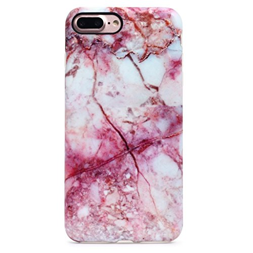 GOLINK iPhone 7 Plus Case/iPhone 8 Plus Marble Case, MATTE Marble Series Slim-Fit Anti-Scratch Shock Proof Anti-Finger Print Flexible TPU Gel Case For iPhone 7/8 Plus 5.5- Pink Line Marble