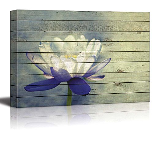 White Lily Flower with Purple Petals Over Wood Panels
