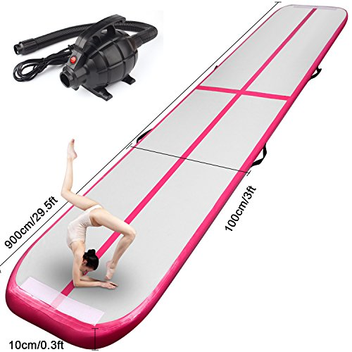 FBSPORT Inflatable Gymnastics AirTrack Tumbling Mat Air Track Floor Mats with Electric Air Pump for Home Use/Training/Cheerleading/Beach/Park and Water Length 9.8foot-(300cm) (Pink, 29)
