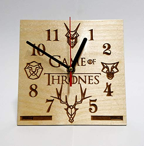 GAME OF THRONES LOGOS Handmade WOODEN DESK Clock HANDCRAFTED 6.7 inches / 17cm made from Wood best decor for your kids bedroom gift for kids stark lannister baratheon targaryen Table CLock