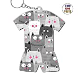 Zinc Alloy Metal Dorm Key Ring,Print Black White Cats,Gift For Boys Girls