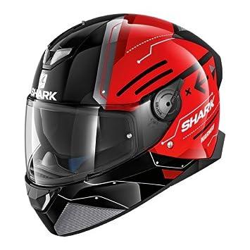 Shark Tiburón cascos de motocicleta, color negro/rojo, talla L