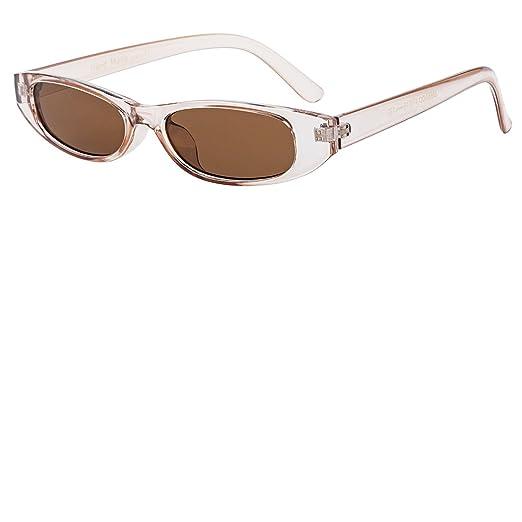 b2d1ff0f278b Buauty Small Sunglasses Vintage 90s Retro Tiny Thin Oval Sunglasses Plastic  Frame