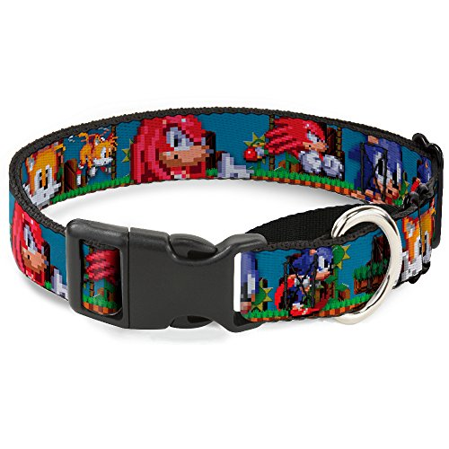 Buckle Down Dog Collar Martingale Sonic Tails Knuckles Pixelated Pose Move 13 to 18 Inches 1.5 Inch Wide ()