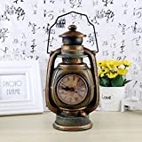 GEZICHTA Retro Lantern Resin Piggy Bank Oil Lamp Shape Coins Saving Box with Clock Money Box Coin Box Living Room Bedroom Decorations