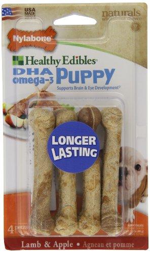 Nylabone Healthy Edible Puppy Lamb and Apple Petite Pet Chew Toy, 4 Count, My Pet Supplies