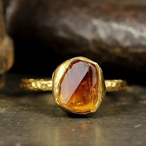 Natural Raw Citrine Stacking Ring Handcrafted Hammered 24K Yellow Gold Vermeil 925 Solid Sterling Silver Stackable Rough Gemstone Ring