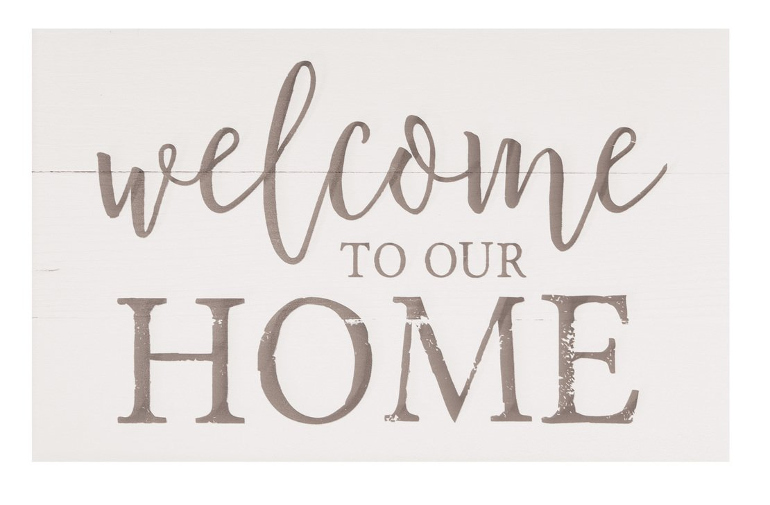 Welcome to Our Home Whitewash 17 x 10.5 Wood Pallet Wall Plaque Sign