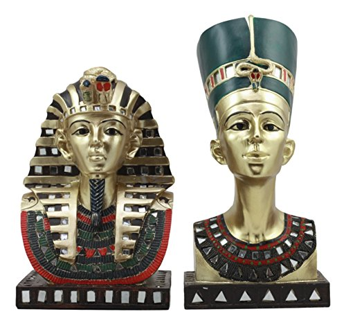 (Ebros Golden Mask Of Egyptian Pharaoh King Tut And Queen Nefertiti Statue Set Of 2 Classical Ancient Egypt Royal Busts Decorative Figurines)