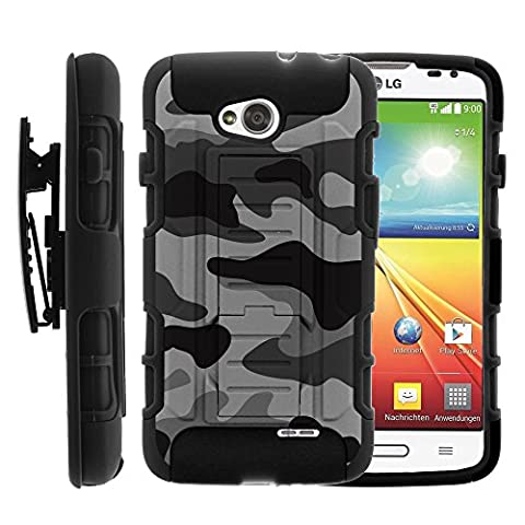 LG Ultimate 2 Case, LG Ultimate 2 Holster, High Impact Advanced Double Layered Hard Cover with Built in Kickstand and Belt Clip for LG Optimus L70 MS323, LG Optimus Exceed 2 VS450PP, LG Realm LS620, LG Ultimate 2 L41C (Metro PCS, Verizon, Boost Mobile) from MINITURTLE   Includes Screen Protector - Gray (Lg Optimus Cell Phone Holster)