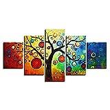 Resumen Pinturavan Gogh Estilo Árbol de manzana Cuadro decorativo Paneles divididos Alta definición Lona para Decoración hogareña- Art º Huellas dactilares 5 partes / juego,40*60CM*2+40*80CM*2+40*100CM*1