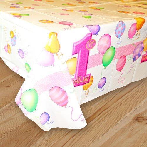 Hule de plástico para mesa con diseño de primer cumpleaños: Amazon ...