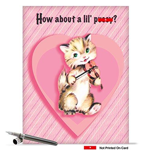 J2126 Jumbo Humorous Valentine's Day Greeting Card: Jumbo Pussy Valentine's Day Card, with Envelope (Giant Size: 8.5