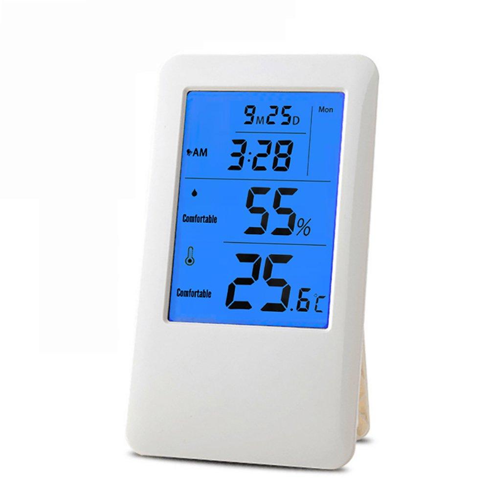 Termómetro electrónico e higrómetro con pantalla LCD retroiluminada, pantalla de higrómetro para comodidad interior, grabación máxima/mixta (sin batería)