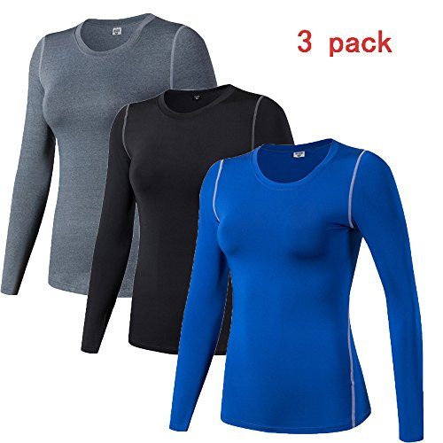 WANAYOU Women's Compression Shirt Dry Fit Long Sleeve Running Athletic T-Shirt Workout Tops (M, 3 Pack(Black+Grey+Blue)) - Long Sleeve Running Top