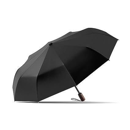AFCITY Mujer Hombre Paraguas Viaje Paraguas Plegable Negro pequeño portátil Paraguas de Sol al Aire Libre